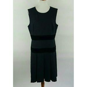 Donna Morgan Womens 16 Black Pleated Sheath Dress